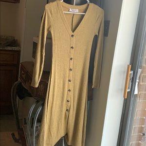 Adorable Mustard Winter Midi Dress